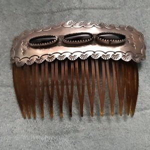 SS Hair Comb with Onyx